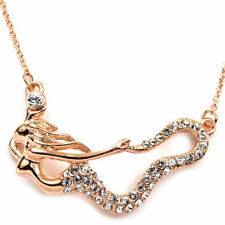 18K Rose Gold GP Clear Crystal Mermaid Pendant Fashion Necklace