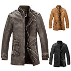 Mens winter Fit pu leather fur lining thicken Warm Overcoat jacket coats outwear