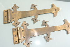 """2 Large hinges vintage aged old style solid Brass DOOR box restore heavy 11"""""""