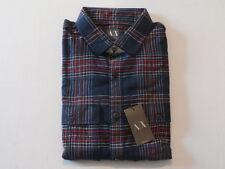 A/X Armani Exchange Men's Festive Plaid Shirt Navy Size XL NWT $98.50