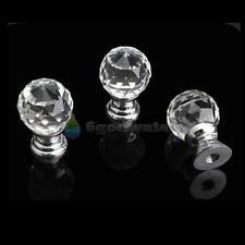 BW 20mm Round Handle Cabinet Cupboard Crystal Glass Drawer Door Knobs Pack of 10
