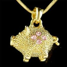 w Swarovski Crystal 3D Little Pink Pig Piggy Piglet Gold PL Pendant Necklace New