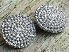 A PAIR OF ANTIQUE HM SILVER BUTTONS - BRIGHT CUT FLOWER - CHARLES HORNER c1900