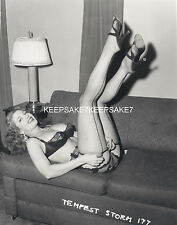 STRIPPER TEMPEST STORM LEGGY IN FISHNETS WITH HER LEGS IN THE AIR  S-TSTORM5A