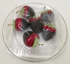 NIB! FAKE 6 CHOCOLATE DIPPED STRAWBERRIES ON PLATE PROP STAGING FUN BY BARD