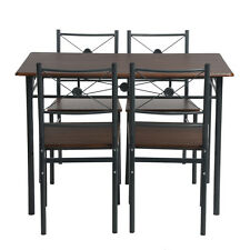 5 Pcs Brown Wood Dining Table and Chairs Set Kitchen Restaurant Dining Furniture