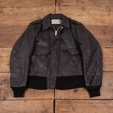 "Mens Schott NYC 674 Vintage Quilt Lined Leather Flight Jacket Black M 42"" R3804"