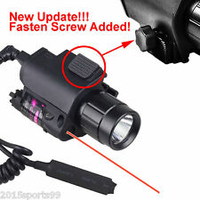 Tactical Combo Led Flashlight Lights Red Laser Sight Lock Rail Fit Pistol Glock