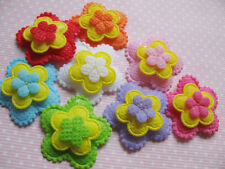 80 Padded 3 Layer Flower Applique/trim-8 colors