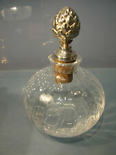 Silver plated top Antique signed Christ Dior perfume glass bottle