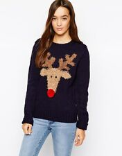 Para Mujer _ Valiente soul_reindeer_pom Pom Xmas jumper_new-ladies_girls_gift_christmas