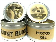 Combo 8oz Burnt Rubber & 8oz Motor Oil Soy Candle Tins - Great Gift for Men