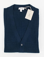 New BRIONI Blue Cashmere Blend Knitted Cardigan Sweater Size 52/42/Large $1650
