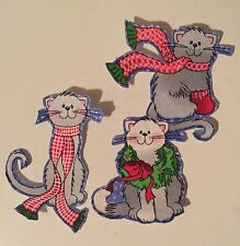 Kitty Cats at Christmas - Iron On Fabric Appliques