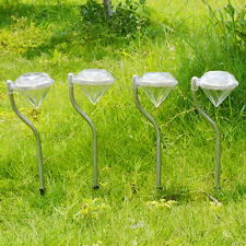 4PCS Outdoor Solar LED Lawn Diamond Lights Stainless Steel Garden Lamp Path