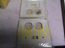 2 Hubbell Outlet Switch Cover, Ivory 92532 Uniline NOS Art Deco Ribbed Plastic