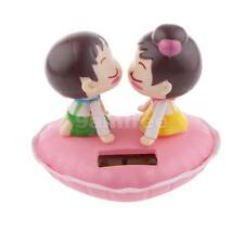 Cute Kissing Baby Solar Powered Toys Car Bobble Head Home Ornaments Pink