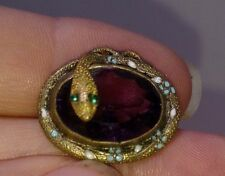 Antique Egyptian Revival Pin amethyst and enameling green eyes Serpent Snake