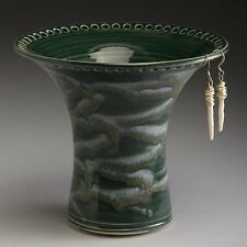 Handmade Wheel Thrown Stoneware Royal Emerald/White Earring Holder by Barb Lund