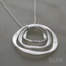 "925 Silver Pltd 3 Multi Circle Round Pendant 18"" Silver Snake Necklace Chain -96"