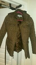 Marc New York Andrew Marc Women's Quilted Jacket Coat M Brown Hood, belted