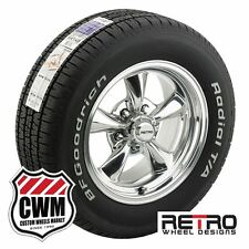 15 inch Retro Staggered Polished Rims Tires for Chevy S10 2wd 82-05