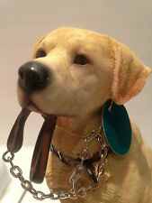 Yellow Golden Labrador Retriever Dog 'Sitting Walkies' Ornament Gift Figurine
