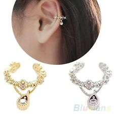 UK STOCK New ELEGANT Gold Plated  Crystal Diamonte Punk Ear Cuff Earring Clip On