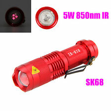 5W 850nm IR Infrared Radiation LED night vision Zoomable Flashlight AA Torch Red