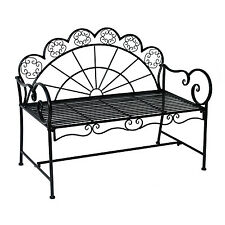 "Outsunny 44"" Metal Garden Bench Two People Heavy-duty Patio Park Décor Black"