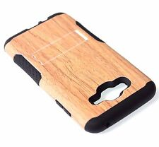 Samsung Galaxy J7 2015 - HYBRID HARD&SOFT ARMOR KICKSTAND CASE COVER BROWN WOOD