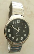 JOHN WEITZ MEN'S WATCH ROUND BLACK DIAL WITH DATE STAINLESS STEEL STRETCH BAND!