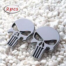 3D Silver Punisher Skull Emblem Badge Sticker Skeleton for Jeep Wrangler Rubicon