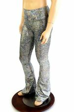 SMALL Mens Silver Holographic Bootcut Spandex Disco Rave Pants Ready To Ship!