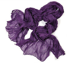 Girl Pure Candy Long Crinkle Soft Scarf Wrap Voile Wrap Stole Shawl Dark Purple