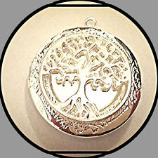 "Lacy TREE of LIFE Silver Plated PHOTO Locket on sterling 925 Chain 18"" Necklace"