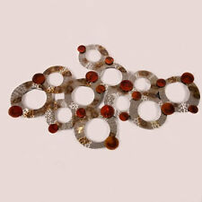 Large Red Silver Bronze Circles Contemporary Design  Feature Wall Art 84-3130