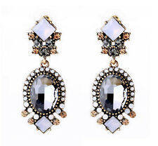 Elegant Gray Rhinestone Resin Geometry Flower Dangle Statement Stud Earrings
