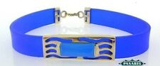 14k Yellow Gold Blue Silicone Rubber Bracelet