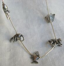 """Sterling Silver Necklace """"Species"""" Animal Celebration! Monkey Fish Toucan 29"""""""