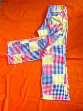 VINTAGE 60s BELL BOTTOM patchwork CHECKERED JEANS pants HIPPIE mod BOHO festival