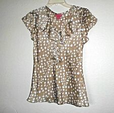 BEIGE POLKA DOT RUFFLED FRONT TOP SIZE SMALL