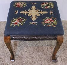 English Regency Style Carving Mahogany Original Needlepoint Footstool Ottoman