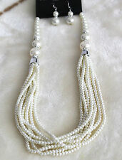 LUXURY CREAM IVORY FRESHWATER PEARL SET DIAMANTE NECKLACE SET WITH EARRINGS
