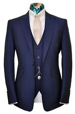 Custom Made Navy Men's Wedding Tuxedos Groom Bestmen Suits (Jacket+Pants +Vest)