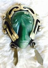 VINTAGE MEXICAN STERLING SILVER ALPACA GREEN ONYX JADE ?AZTECK MASK PIN PENDANT