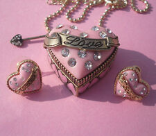 Can Open Love Pink Heart Locket With Ring Inside Necklace Earrings Group Z168