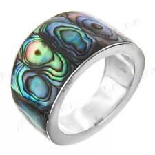 PAUA ABALONE SHELL 925 STERLING SILVER BAND US 6 ring