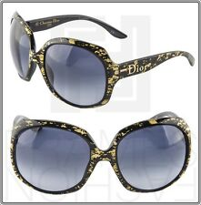 CHRISTIAN DIOR Glossy 1G Oversized Round Black Gold Leaf Sunglasses Optyl Women