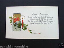 Unused Vintage Hand Colored Xmas Greeting Card Art Deco Style Cottage & Candles